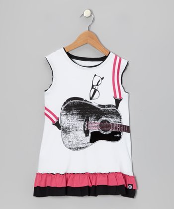 White Acoustic Guitar Dress - Toddler & Kids