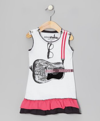 White Acoustic Guitar Snap Dress - Infant