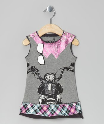 Gray Biker Dress - Girls