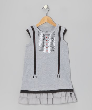 Gray Suspenders Dress - Infant, Toddler & Girls