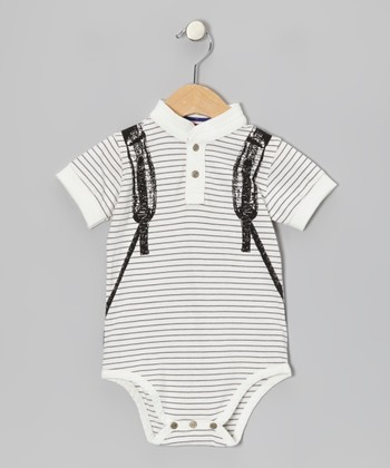 Off-White Skater Backpack Henley Bodysuit - Infant