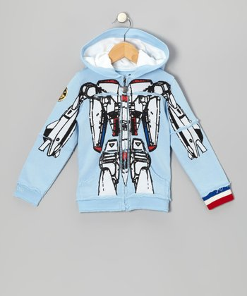 Blue Robot Zip-Up Hoodie - Infant, Toddler & Kids