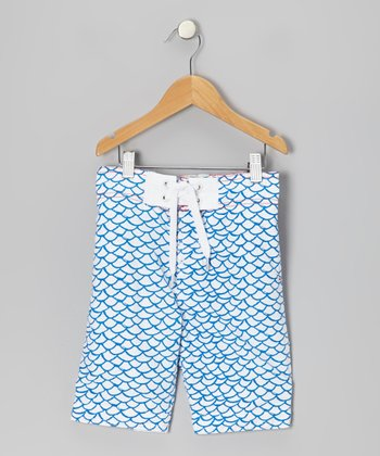 White & Blue Fish Boardshorts - Infant, Toddler & Girls