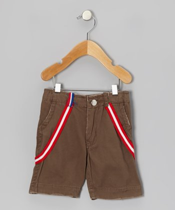 Brown Suspenders Shorts - Infant, Toddler & Kids