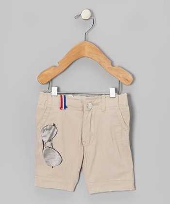 Beige Sunglasses Shorts - Infant