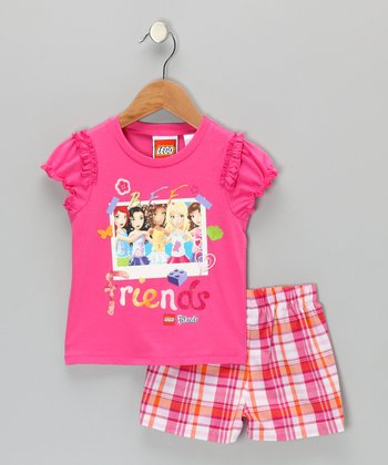 Pink LEGO Friends Plaid Top & Shorts - Toddler & Girls