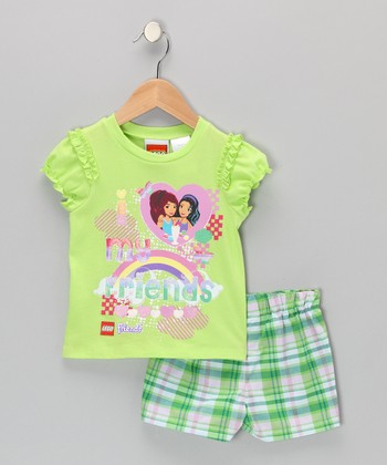 Green LEGO Friends Plaid Top & Shorts - Toddler & Girls