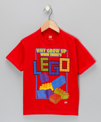 Red 'Why Grow Up When There's LEGO' Tee - Kids