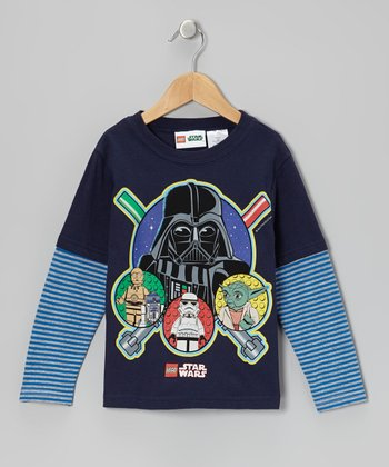 Navy & Blue LEGO 'Star Wars' Layered Tee - Kids