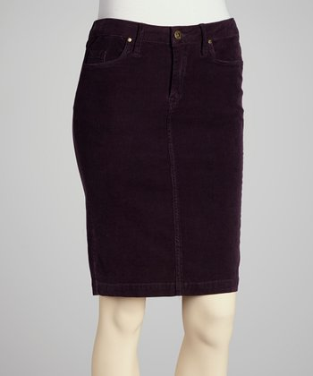 Purple Aubergine Corduroy Skirt