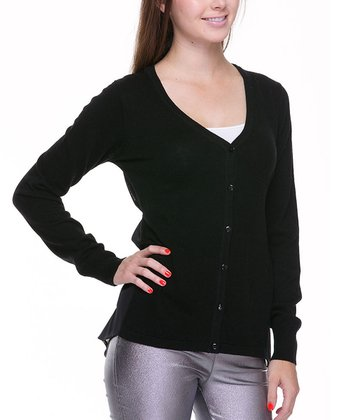 Black Mesh-Back Cardigan