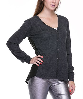 Charcoal Gray Mesh-Back Cardigan