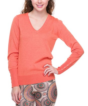 Apricot Basic V-Neck Sweater