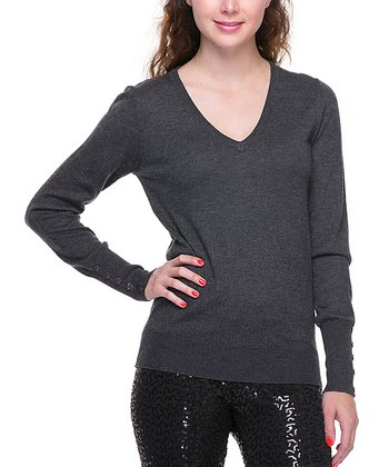 Charcoal Gray Basic V-Neck Sweater