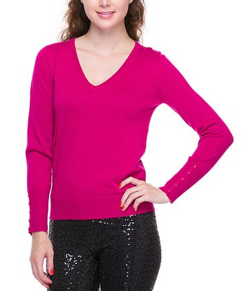 Magenta Basic V-Neck Sweater