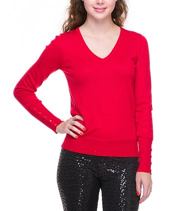 Red Basic V-Neck Sweater