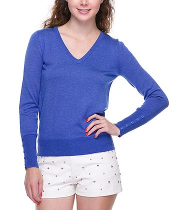 Royal Blue Basic V-Neck Sweater