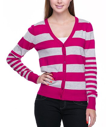 Magenta & Light Gray Stripe Cardigan