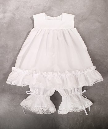 White Lace Ruffle Dress & Bloomers - Infant & Toddler