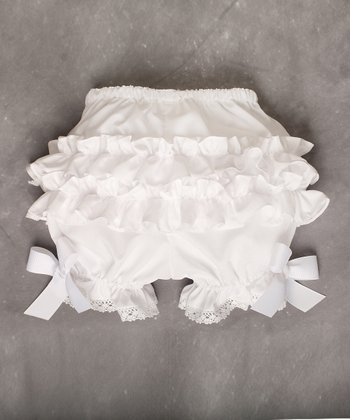 White Ruffle Bow Bloomers - Infant