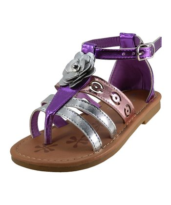 Purple & Silver Rose Ankle-Strap Sandal
