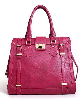 Burgundy Double Buckle Tote