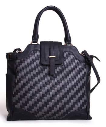 Black & Gray Two-Tone Woven Tote