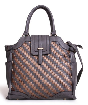 Gray & Bronze Two-Tone Woven Tote