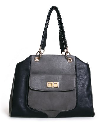Gray & Black Turnlock Braided Tote