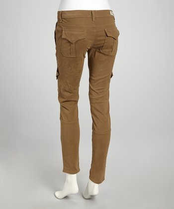 Mink Brown Mid-Rise Mary Skinny Cargo Pants