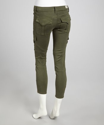 Olive Green Mid-Rise Mary Cargo Cropped Pants