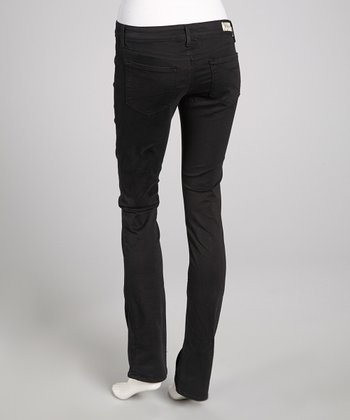 Black Sateen Low-Rise Trish Straight-Leg Pants