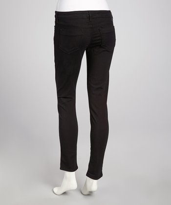 Black Overdye Low-Rise Skinny Pants