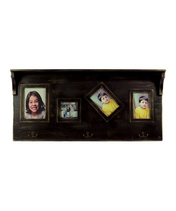 Black Wood Shelf Wall Hook/Picture Frame
