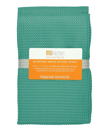 Malachite Microfiber Waffle Towel - Set of Two