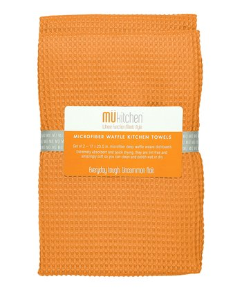 Tangerine Microfiber Waffle Towel - Set of Two