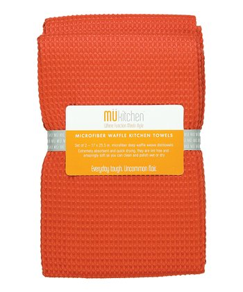 Coral Microfiber Waffle Towel - Set of Two