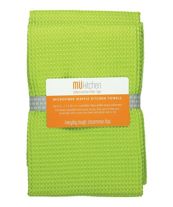 Grass Microfiber Waffle Towel - Set of Two