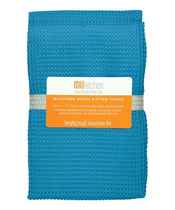 Sea Blue Microfiber Waffle Towel - Set of Two