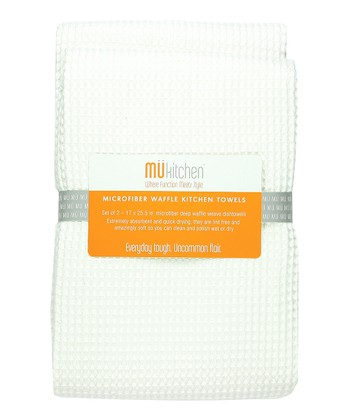 White Microfiber Waffle Towel - Set of Two