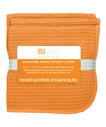 Tangerine Microfiber Waffle Cloth - Set of Three