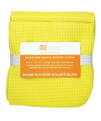 Lemon Microfiber Waffle Cloth - Set of Three