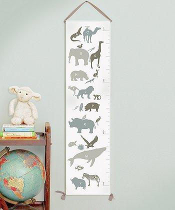 Neutral Alphabet Animals Canvas Growth Chart