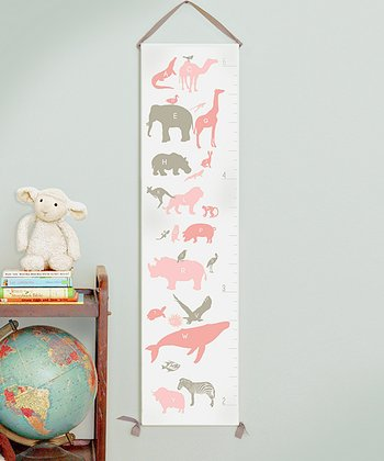 Pink Alphabet Animals Canvas Growth Chart