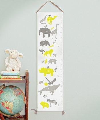 Yellow Alphabet Animals Canvas Growth Chart