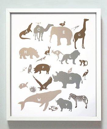 Neutral Alphabet Animals Print