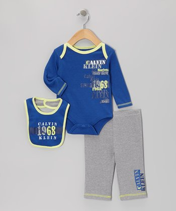 Blue & Yellow '1968' Long-Sleeve Bodysuit Set