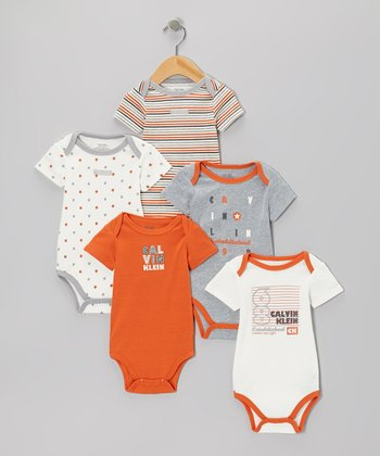 Orange & Gray 'Established 1968' Logo Bodysuit Set