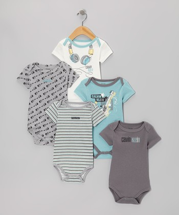 Light Blue & Gray Music Branded Bodysuit Set