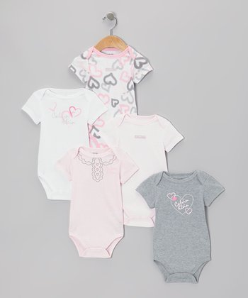 Pink & White Heart Logo Bodysuit Set